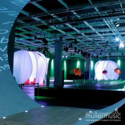 Messe/Ausstellung/Tagung Inszenierung einer Ausstellungseröffnung mit vielen Bereichen der Veranstaltungstechnik: Beschallung, Beleuchtung, Bühnenbau, AV-Technik, Rigging. Weitere Infos finden Sie auf www.muellermusic.com