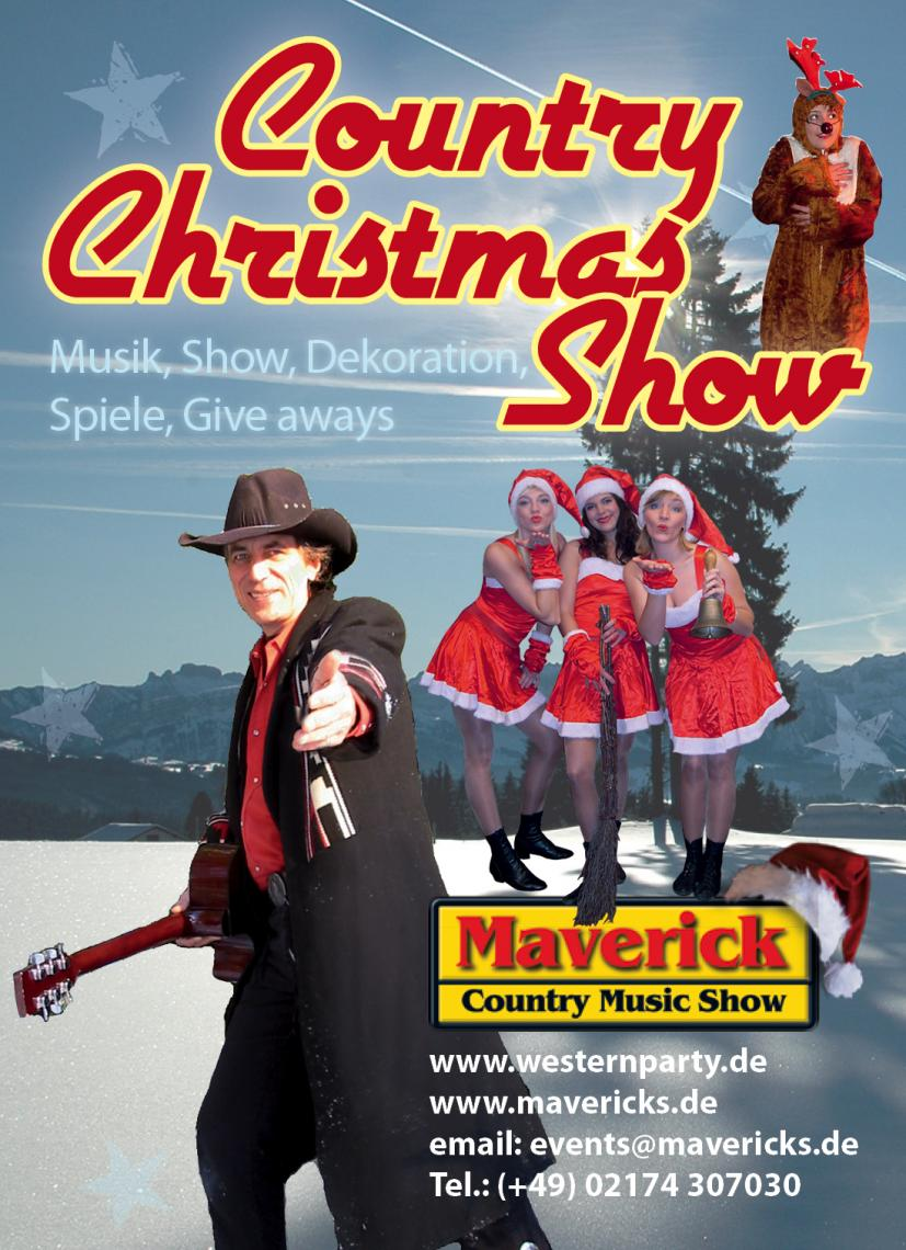 Weihnachtsfeier - Maverick Christmas Show Mavericks Country-Christmas Veranstaltungskonzept lässt sich jederorts und jederzeit flexibel und authentisch einsetzen und begeistert wirklich jeden! Mit Gefühl und Rhythmus, mal rockig, mal romantisch! Die richtige Songauswahl, Showhighlights und ein gelungenes Entertainment entführen Sie für einen Abend in das weihnachtliche Nashville, Memphis und Las Vegas. Die schönsten und bekanntesten Weihnachtslieder im modernen Live Sound: Von Jingle Bells & Blue Christmas bis Rudolph The Rednosed Reindeer, Rockin´ Around The Christmas Tree, Silent Night u.vm!