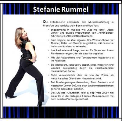 Stefanie Rummel: Profil - Sängerin, Stepptänzerin, Moderatorin, Magierin One-Woman-Show, Stefanie Rummel  Foto: Jörg Ladwig