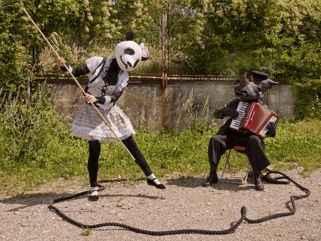 Capt'n Rhino und Manga Panda Zwei ungewöhnliche Weltreisende machen halt, um die Menschen zu unterhalten: ein freches, tanzendes Pandamädchen und ihr Beschützer, ein launischer Nashornseemann. Sie ziehen einen Kreis und eine schräge, sentimentale Show beginnt…