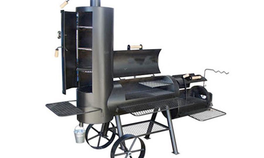"""20 Zoll Longhorn  - BBQ-Smoker für zu Hause Der Longhorn ist die verlängerte Ausführung des Special Edition Modells jedoch verfügt er über eine größere Grillfläche und eine größere Feuerbox.  Ein größerer Frontablagerost, sowie ein zusätzlicher Ablagerost vor der Feuerbox bieten zusätzlichen Komfort. Die Schwenkarmhalterung ermöglicht das Kochen über dem Feuer. Der Longhorn ist in den Größen 41 cm (16"""") und 51 cm (20"""") erhältlich."""