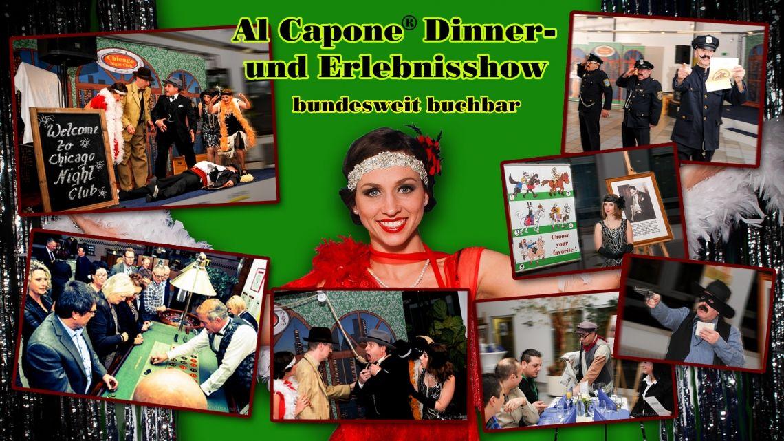 Al Capone Dinner- & Erlebnisshow Dieses Abend füllende Themenevent ist ein Amüsement  für alle Sinne. Es bietet eine Fülle an ausgelassener Unterhaltung der Gäste, die in Ihrer Vielseitigkeit nahezu einmalig ist. Man kann lachen, tanzen, zocken, mitspielen, genießen und lernt außerdem Deutschlands bestes Al Capone Double kennen.