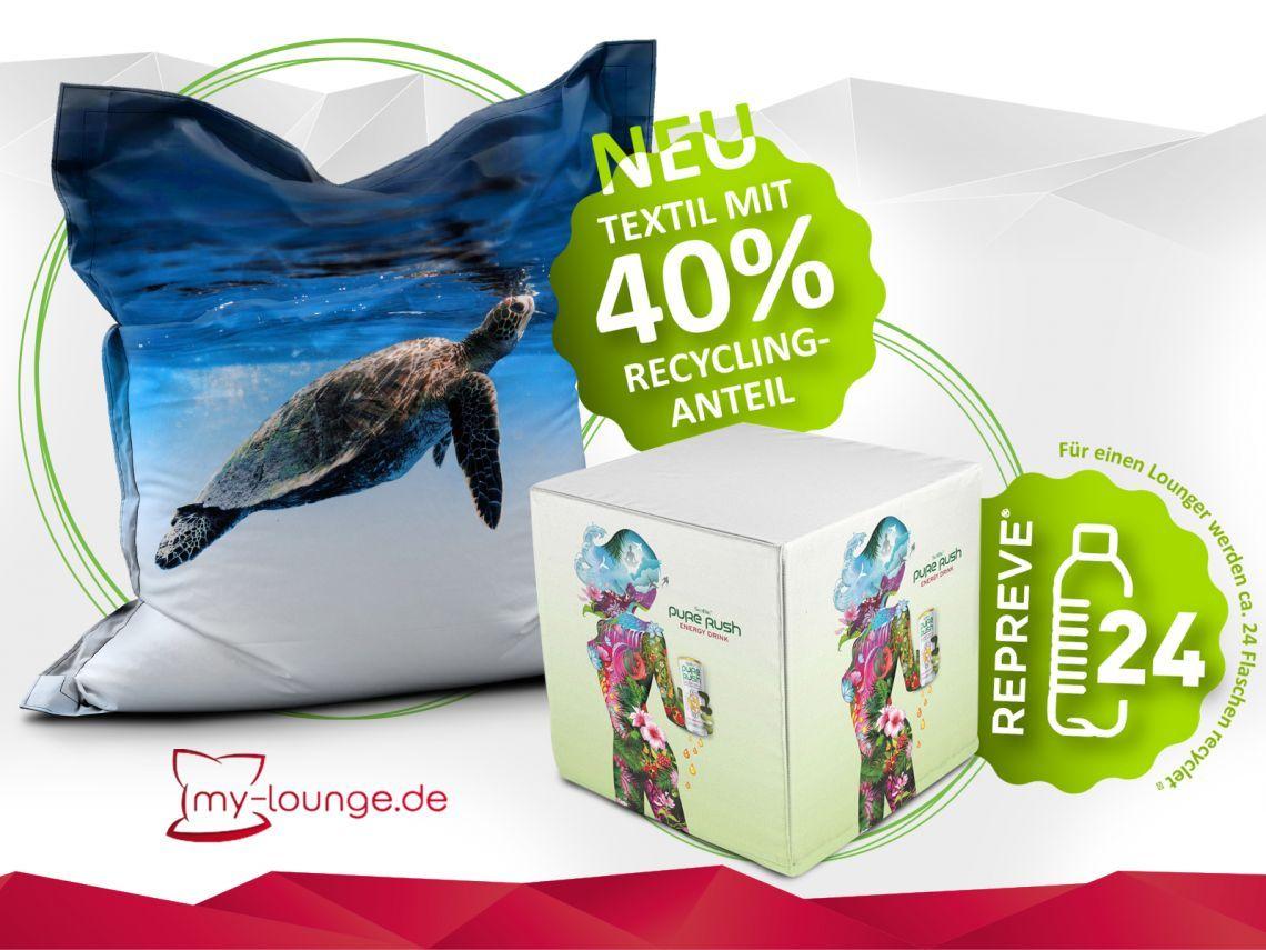 """Unser Eco Tent Der Eco Tent by My-Lounge liefert höchsten Komfort und unterstützt unseren """"grünen Gedanken"""". So werden in einem Lounger ca. 24 Plastikflaschen, in Küstengewässern gesammelt, verarbeitet."""