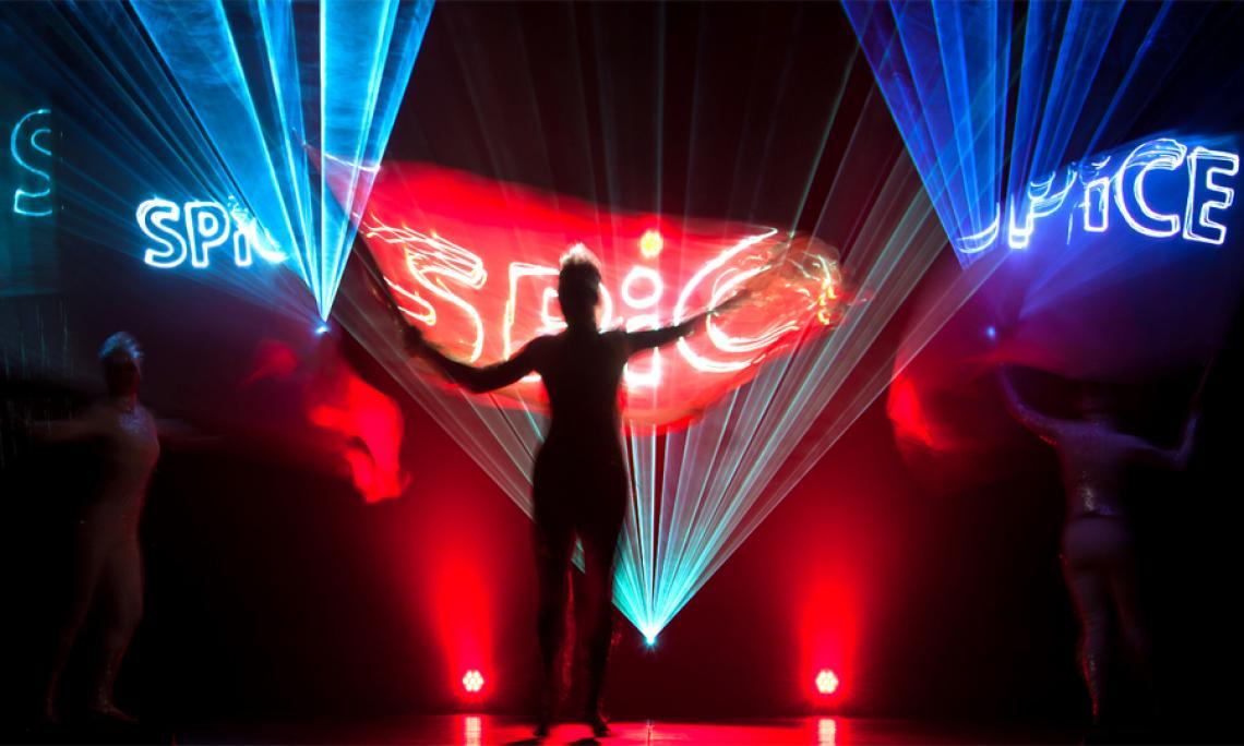 PRiSMATIC Licht- und Lasershow - Artistische Einbindung von Schriftzügen in unserer Laser- und LED-Show.