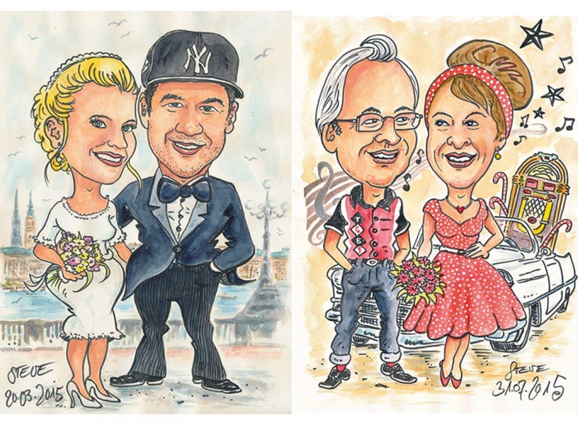 Karikatur nach Fotovorlage Hochzeit