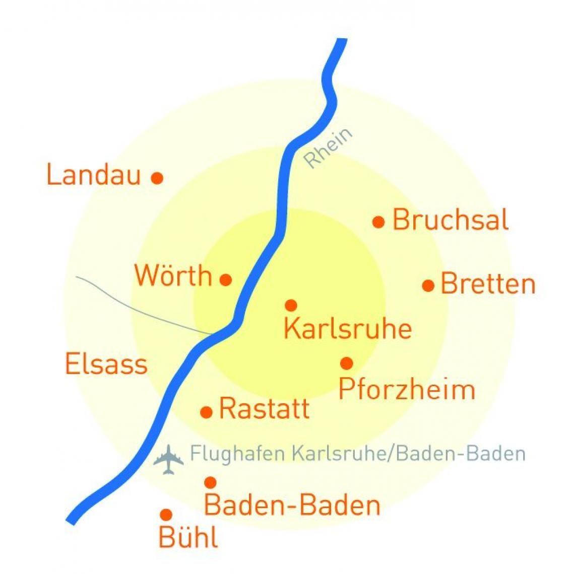 Karte Region Karlsruhe