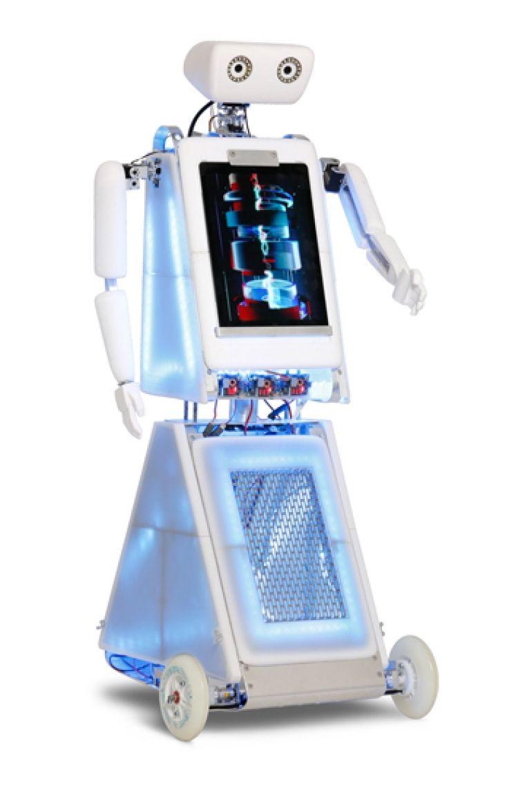 Robopolitan der Event- und Messe-Roboter Der Roboter ist ca. 1,25m gross und es kann für stärkere Aufmerksamkeit ein Follow-Me-Schild angebracht werden, welches bis auf ca. 2,80m höhe ausfahrbar ist.