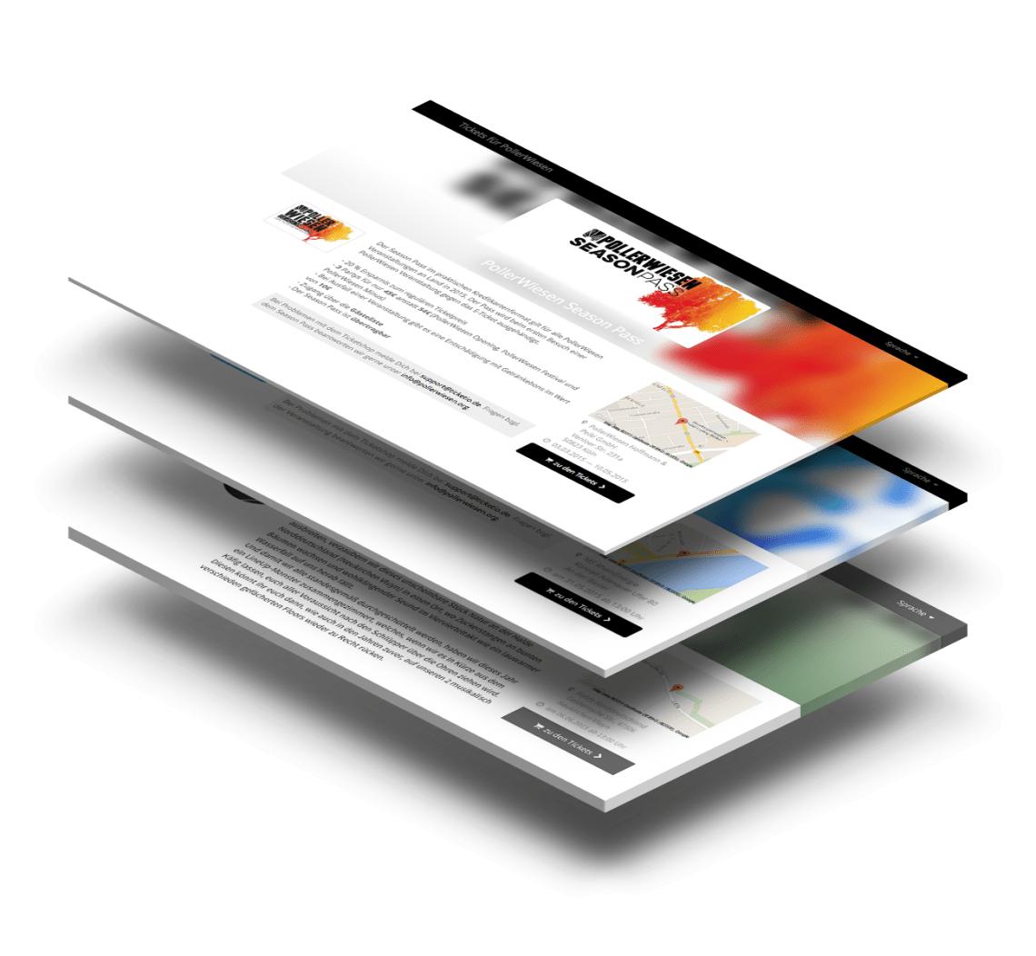 Stylischer Ticketshop Auftritt mit eigenem Ticketportal durch frei adaptierbaren White Label Shop sowie Stärkung der Markenidentität durch frei editierbares Ticketdesign