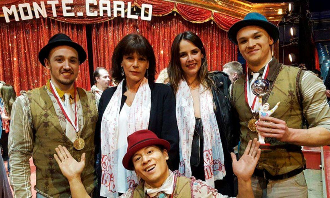"""Silber jr. Clown beim """"Festival International du Cirque de Monte-Carlo"""" mit Prinzessin Stéphanie von Monaco und Tochter Pauline"""