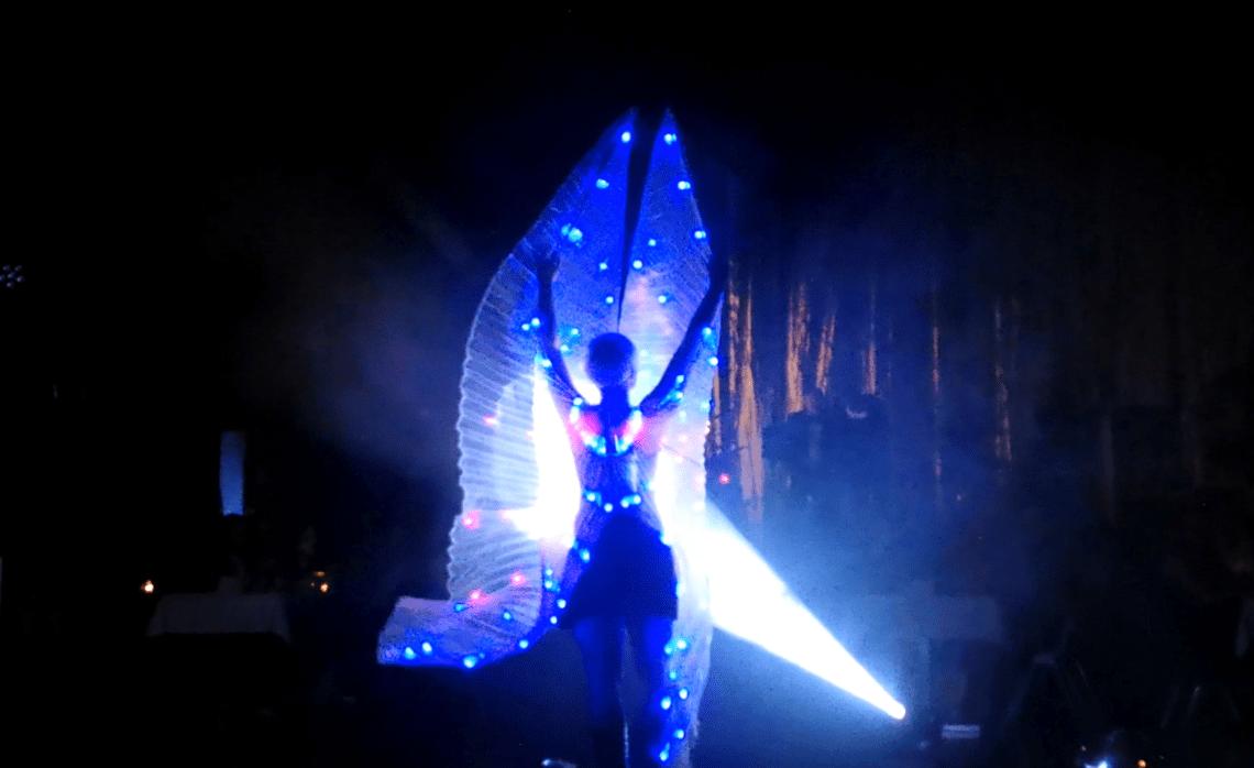 Lightshow mit Special Effect Sabrinas LED-Lichtshow DELiGHTFUL ist die neueste Show aus dem Hause S.W.A.P. und punktet mit eindrucksvollen Licht- und Nebeleffekten, die den Anschein machen, als ob Sabrina sie mittels ihrer Bewegungen steuert. Das i-Tüpfelchen ist hier eine individuelle Inszenierung von Firmenlogos, Slogans, Bildern und dergleichen