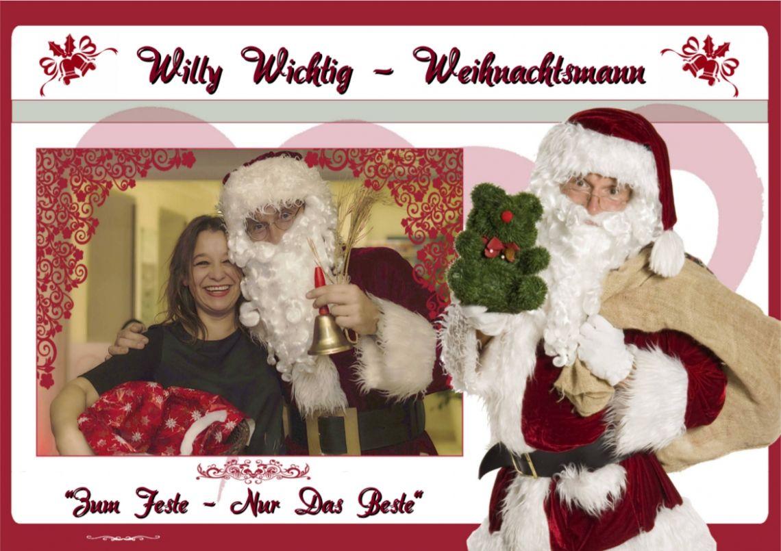 """willy-wichtig-comedy-weihnachtsmann Gönnen Sie sich & Ihren Gästen auf Ihrer Weihnachtsfeier das Schönste Weihnachts-Lächeln.  Weihnachtsmann """"Willy´s"""" amüsante Situations-Komik lässt kein Auge trocken und versetzt die Gesellschaft von Beginn an in  """"Wundervollste Hoch-Weihnachts-Stimmung"""".   """"Willys"""" Weihnachts-Eingangs-Animation: """"Willy"""" parkt seinen Schlitten direkt vor der Tür & empfängt die ankommenden Gäste: Kontrolle der Einladungen, Check des weihnachtlichen Outfits  (mind. ein Kleidungsteil MUSS rot sein – auch die Unterhose zählt!!)   Beträgt das Weihnachts-Eingangslächeln mindesten 7cm?  So starten Ihre Gäste direkt  weihnachtlich top-fit in die Veranstaltung!"""