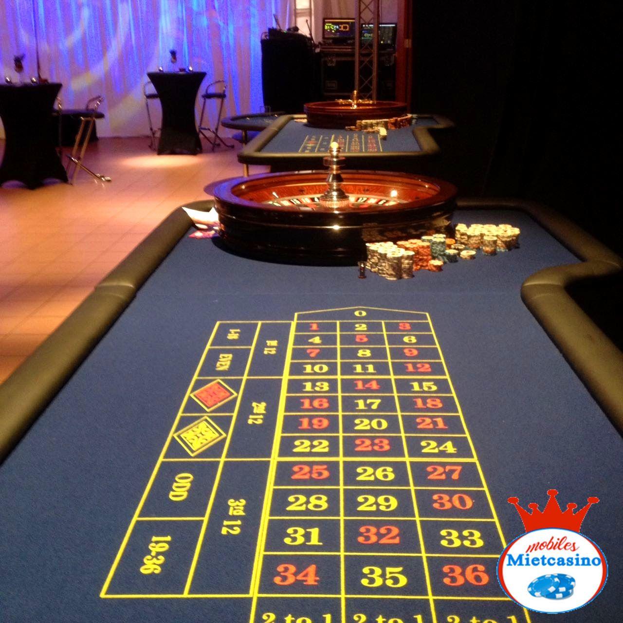 Casino Roulette Spieltisch mit Roulette Kessel  American Roulette Spieltisch in blau mit original Roulette Kessel