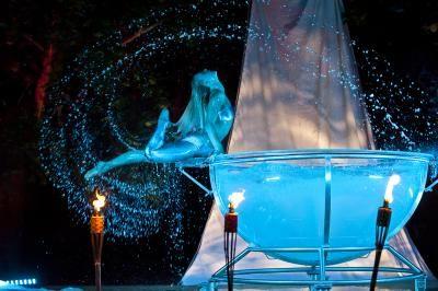 Aquatica Eine Choreographie aus purer Leidenschaft, aufgeführt in einer durchsichtigen Halbkugel aus Glass, gefüllt mit Wasser. Ineinander fließende Bewegungsabläufe aus Tanz, Gymnastik, Wasserballett und Akrobatik symbolisieren Ästhetik, Reinheit und Weiblichkeit. Eine Welle der Poesie bedeckt die Zuschauer für diesen Augenblick mit ihrem Zauber...