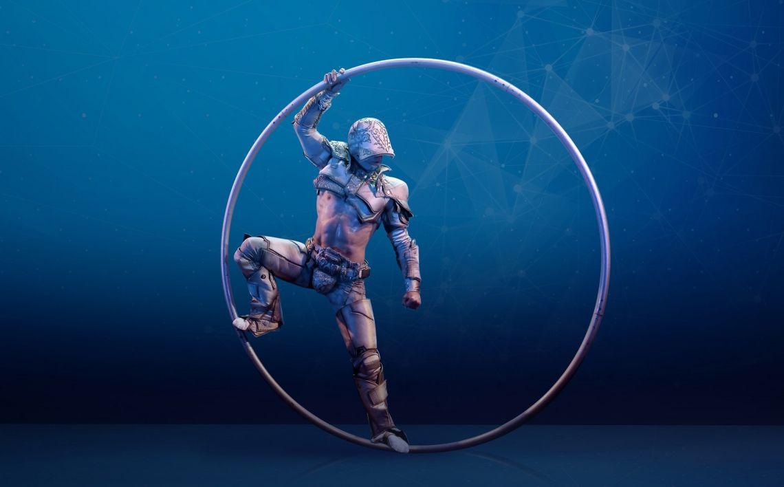 """McHero Kann es etwa sein, dass auch Roboter eine Seele haben?  Künstler Mikhail Stepanov entführt das Publikum mit seiner kraftvollen Cyr-Wheel-Nummer """"Mc Hero"""" in eine Zukunftsphantasie, in der Mensch und Technik miteinander verschmelzen.  In einem roboterartigen Kostüm, das ihn wie einen japanischen Anime-Helden erscheinen lässt, tritt der athletische und attraktive Artist auf die Bühne. In der Hand hält er einen übermanngroßen Stahlreifen  –  """"Cyr-Wheel"""" . Es funktioniert wie ein Rhönrad, hat aber nur einen Reifen, was die Sache umso anspruchsvoller macht.  Im Laufe seiner mit atmosphärischen  Elektro-Beats begleiteten Nummer steigert er sich mit vielen exakt choreografierten akrobatischen Figuren in eine symbiotische Beziehung mit seinem Sportgerät.  Mit dem ständig schwingenden Rad und seinen mechanischen Bewegungsabläufen wirkt der Künstler wie ein Teil eines großen technischen Mechanismus. Und doch zaubert er mit seinen Bewegungen Poesie in die Maschinerie."""