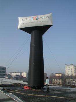 Werbepylon luftgefüllte Werbesäulen mit Applikation zur besseren Logopräsentation, Größen bis 15 m und mehr möglich, auch als einfache aufblasbare Litfaßsäule umsetzbar für Messen, Events, Veranstaltungen aller Art
