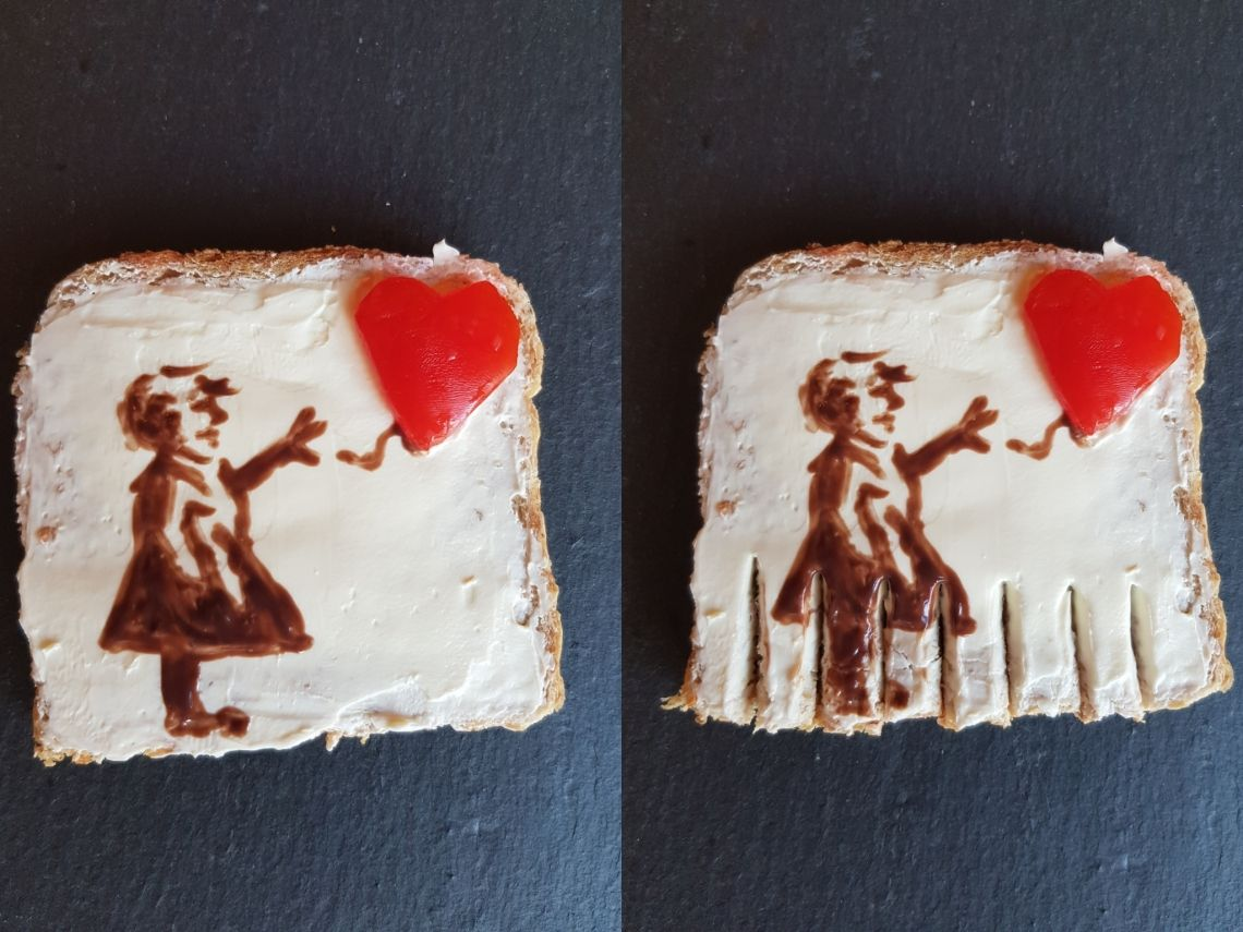#KunstgeschichteAlsBrotbelag Dieses Team hat das Werk von Banksy grandios als Toast dargestellt.