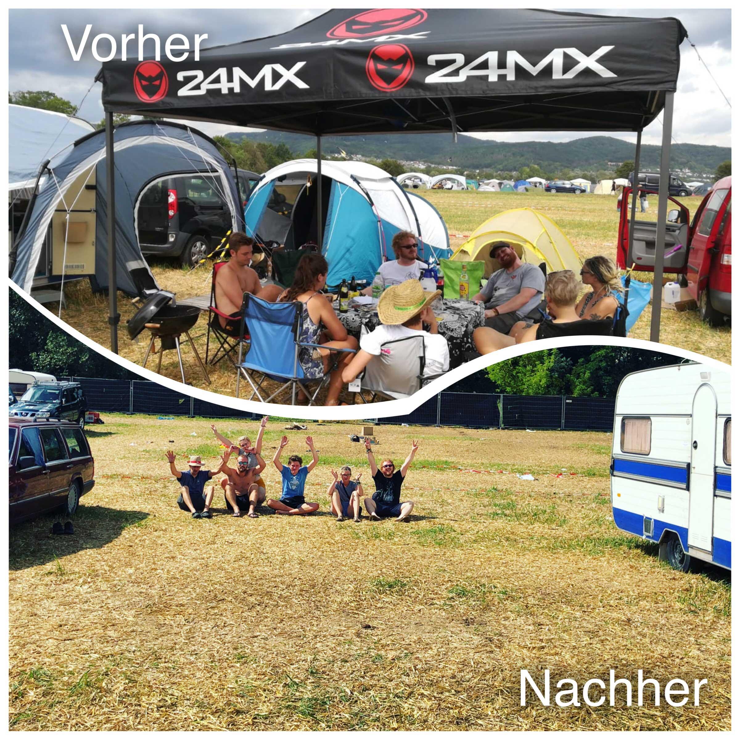 Vorher-Nachher Fotos Wir haben unsere teams beim Open Flair Festival aufgefordert, uns Vorher-Nachher Fotos ihres Camps zu schicken. So konnten Sie stolz zeigen, dass sie den Campingplatz sauber hinterlassen haben.