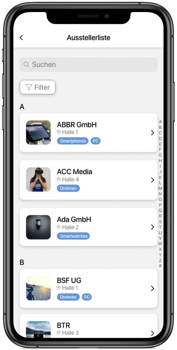 Ausstellerübersicht Bieten Sie Ihren Ausstellern eine Plattform, sich zu präsentieren: mit Details, Logo, Verlinkung und mehr.
