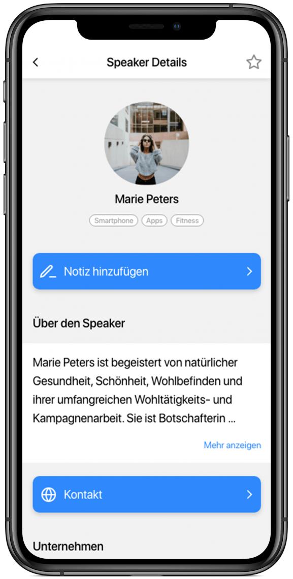 Speakerübersicht Geben Sie Ihren Speakern ein Gesicht und stellen Sie weitere Informationen zur Verfügung.