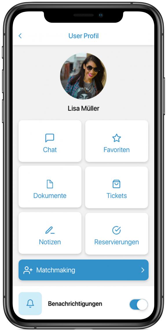 User Profil Jeder App User kann sich hier mit seinen Daten registrieren und bspw. das beliebte Match-Making nutzen.