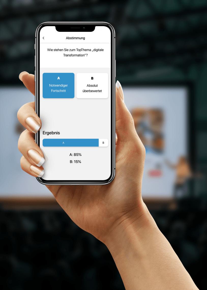 Abstimmungen und Votings Veranstalter haben mit diesem Feature ein Tool an der Hand welches sowohl Meinungen einsammeln als auch Umfragen - wenn gewollt live - abbilden kann.