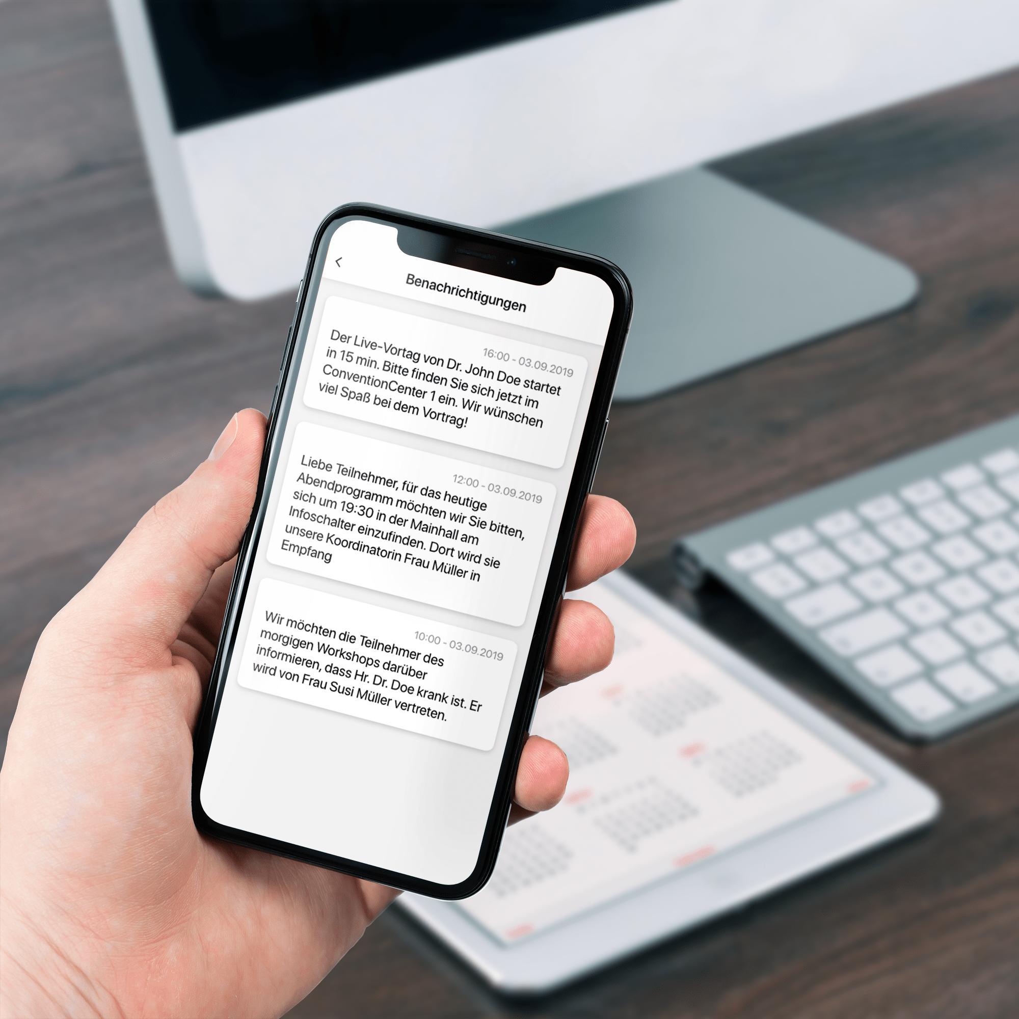 Push-Benachrichtigungen Ausgewählte App-User können über das Feature der Push-Benachrichtigungen zeitnah mit Neuigkeiten versorgt werden.